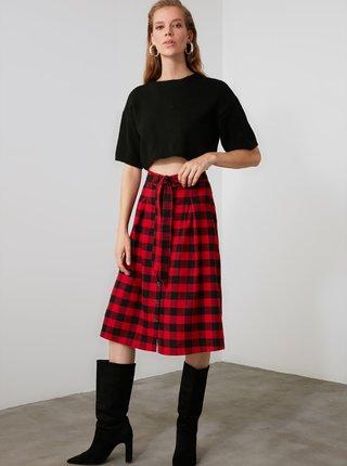 Černo-červená kostkovaná sukně Trendyol