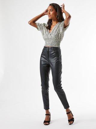 Čierne koženkové nohavice Dorothy Perkins Petite
