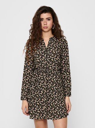 Čierne kvetované košeľové šaty ONLY Cory