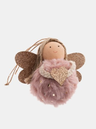 Růžový závěsný textilní anděl Dakls