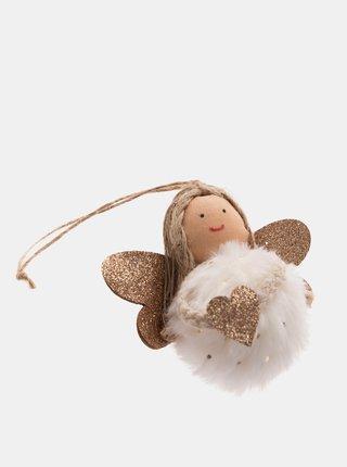 Bílý závěsný textilní anděl Dakls