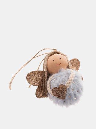 Šedý závěsný textilní anděl Dakls
