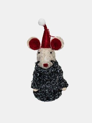 Šedá závěsná textilní myška Dakls