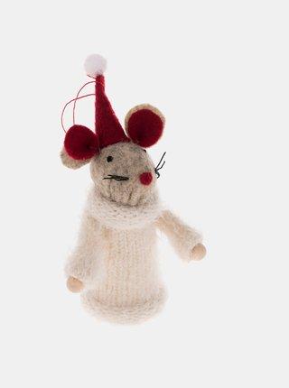 Bílá závěsná textilní myška Dakls