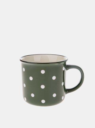Zelený puntíkovaný keramický hrnek Dakls 350 ml