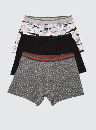 Sada tří vzorovaných boxerek v černé a šedé barvě Trendyol