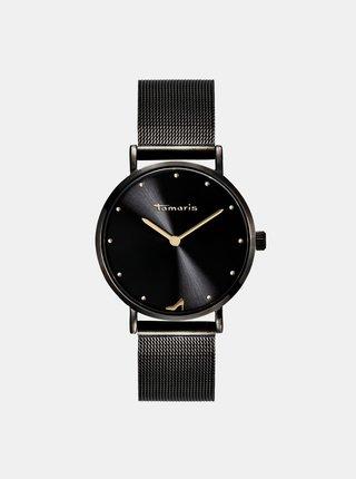 Dámské hodinky s černým kovovým páskem Tamaris