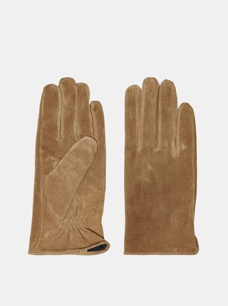 Svetlohnedé kožené rukavice ONLY