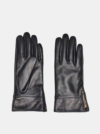 Černé kožené rukavice ONLY