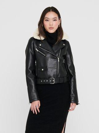 Čierna zimná koženková bunda ONLY