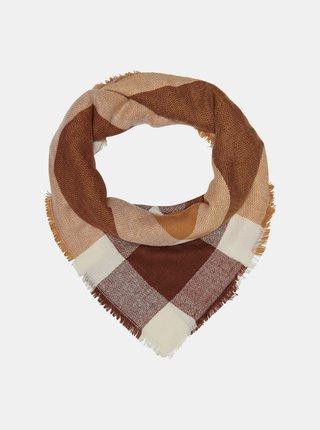Hnědo-vínový kostkovaný šátek ONLY