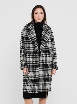 Černo-šedý kostkovaný zimní kabát ONLY