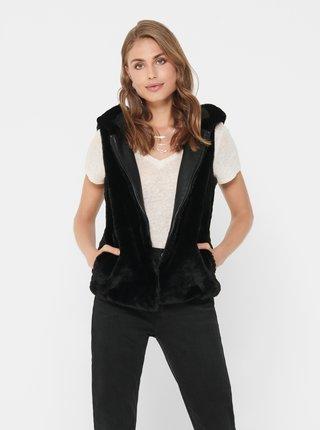 Černá vesta z umělého kožíšku ONLY