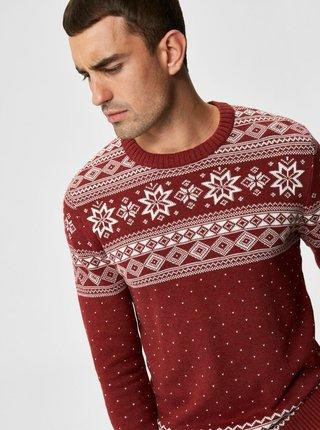 Červený svetr s vánočním motivem Selected Homme