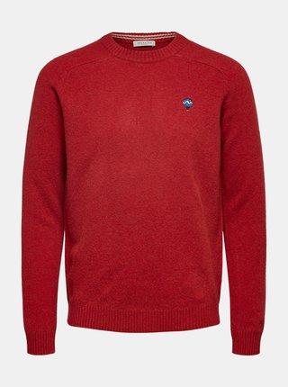 Červený vlněný svetr Selected Homme
