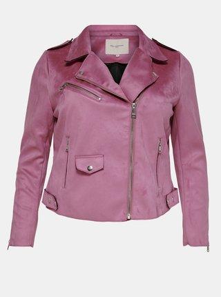 Ružová bunda v semišovej úprave ONLY CARMAKOMA