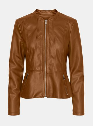 Hnedá koženková bunda VERO MODA Butteralba