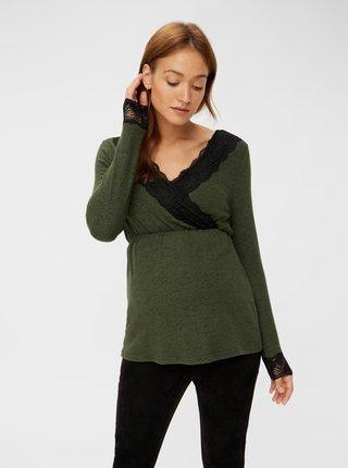 Zelené tehotenské/dojčiace tričko s krajkou Mama.licious