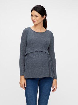 Šedomodré tehotenské/dojčiace tričko Mama.licious