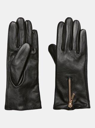 Černé kožené rukavice VERO MODA Kassandra