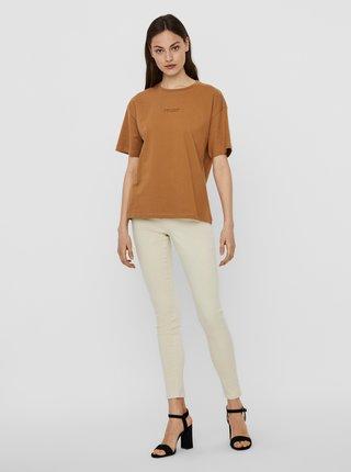 Tricouri pentru femei AWARE by VERO MODA - maro
