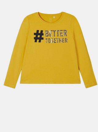 Žlté dievčenské tričko s potlačou name it