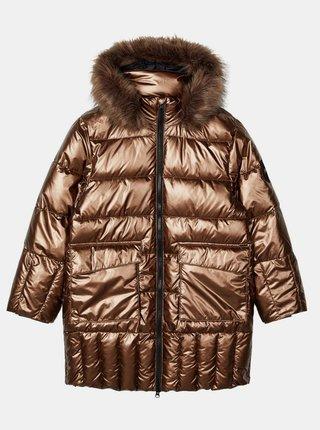 Dievčenský zimný prešívaný kabát v zlatej farbe name it