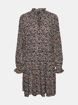 Čierne kvetované šaty VERO MODA Hibiscus