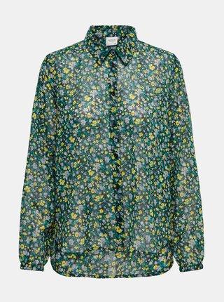 Zelená kvetovaná priesvitná košeľa Jacqueline de Yong