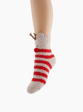 Béžovo-červené ponožky s vianočným motívom Pieces Rudolph