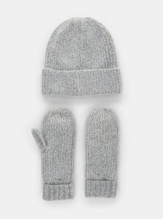 Sada čepice a rukavic v šedé barvě Pieces Ryona