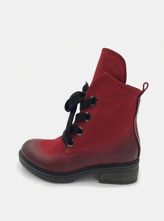 Červené dámské kožené kotníkové boty WILD