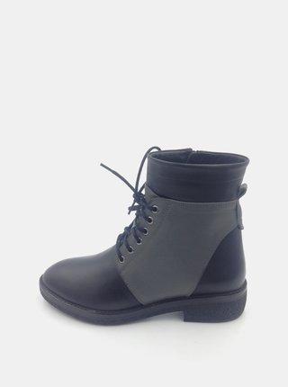 Šedomodré dámske kožené členkové topánky WILD