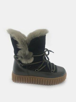Khaki dámské kožené zimní boty WILD