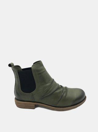 Khaki dámské kožené chelsea boty WILD