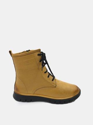 Žlté dámske kožené členkové topánky WILD