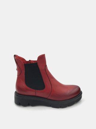 Červené dámske kožené chelsea topánky WILD