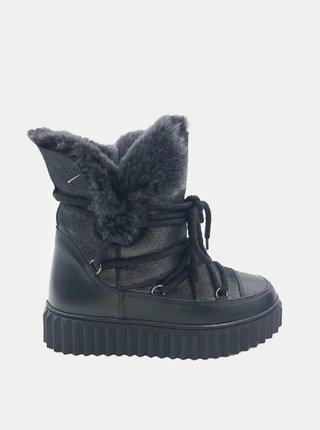 Čierne dámske kožené zimné topánky WILD