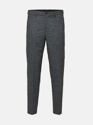 Šedé kalhoty s příměsí vlny Selected Homme
