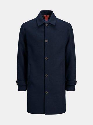 Tmavě modrý kabát s příměsí vlny Jack & Jones