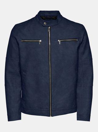 Modrá bunda v semišové úpravě ONLY & SONS