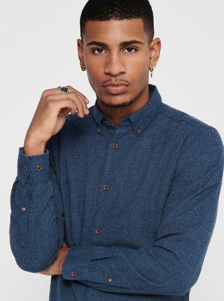 Modrá flanelová košeľa ONLY & SONS