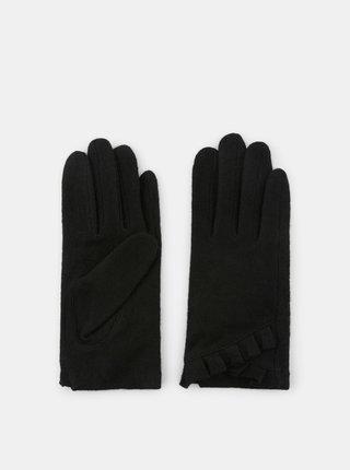 Černé vlněné rukavice Pieces Sulva