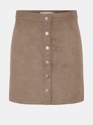 Béžová sukně v semišové úpravě Pieces Sevan