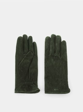 Zelené semišové rukavice Pieces Comet