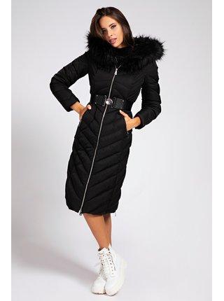 Guess černý kabát Belted Padded Long Jacket
