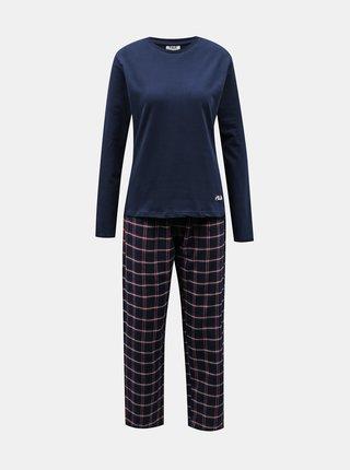 Tmavomodré dámske kockované pyžamo FILA