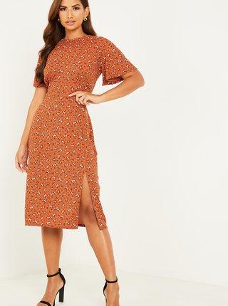 Hnědé květované šaty s rozparkem QUIZ