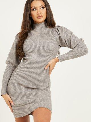 Šedé svetrové šaty se stojáčkem QUIZ