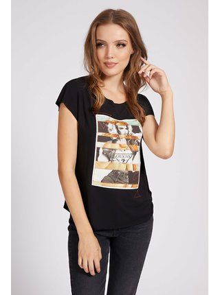 Guess černé tričko Placed Print